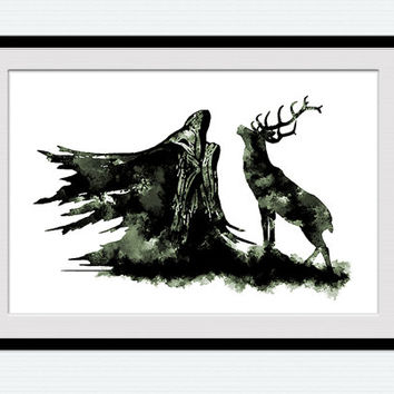 Dementor and stag watercolor poster Dementor and stag poster Harry Potter art Colorful gift illustration Home decoration Kids room art  W165
