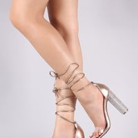 Clear Open Toe Ankle Lace-Up Chunky Rhinestone Heel
