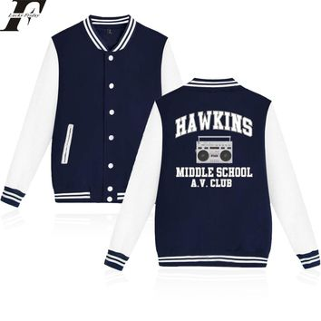 LUCKYFRIDAYF 2018 Stranger Things Hawkins Middle School AV Club Baseball Jacket Men/Women Print College Style Clothes Plus Size
