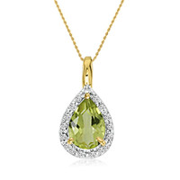 "14K Yellow Gold Pear Peridot Pendant (3/4ct. 18"" chain)"