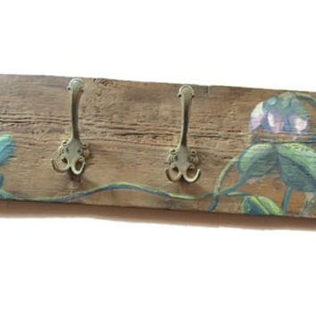 Rustic reclaimed wood coat hanger or hat rack. Vintage metal hooks. Hand painted. Leaves and flowers.