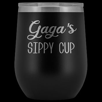 Gaga's Sippy Cup Gaga Wine Tumbler Gifts Funny Stemless Stainless Steel Insulated Wine Tumblers Hot Cold BPA Free 12oz Travel Cup