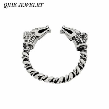 QIHE JEWELRY Norse viking ring with dragon heads open twisted 3 color Norse ring Scandinavian jewelry Vikings jewelry