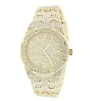 Presidential Look Steel Back Iced Out 14k Gold Finish Watch