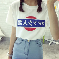 New Girl Printed Short Sleeved T-Shirt Antihuman Trafficking In Japanese Ulzzang Harajuku Women Pullovers Free Shipping