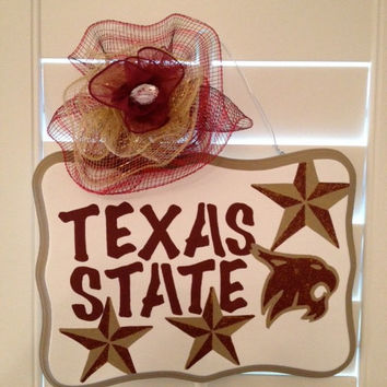 Texas State Bobcats Hand Painted Decorative Wall/Door Hanging Sign