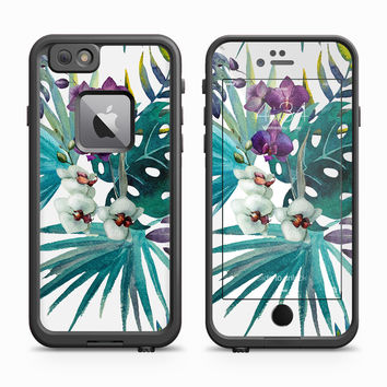 Teal Watercolor Purple Birds of Paradise Skin for the Apple iPhone LifeProof Fre Case