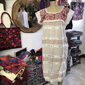 Oaxaca White Midi Loomed Dress with Red Embroidery