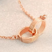 """Cartier""18 k rose gold LOVE 2-ring brief paragraph clavicle necklace chain accessories gifts"
