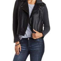 Black Sweater Knit & Faux Leather Moto Jacket by Charlotte Russe
