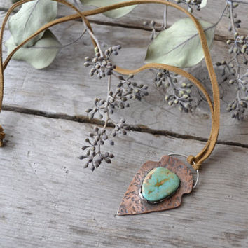 arrowhead necklace // textured copper // pilot mountain turquoise