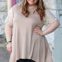 Crochet Sleeve Tunic in Mocha {Curvy}
