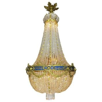 Fine French Empire Style 19th-20th Century Gilt Bronze and Cut-Glass Chandelier