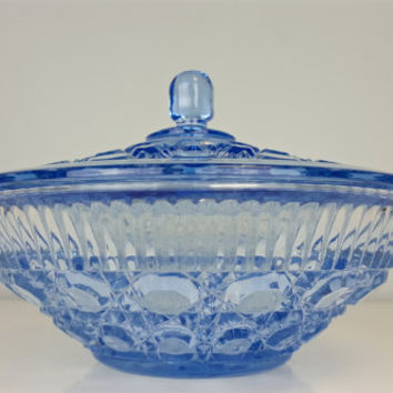 Vintage Candy Dish Lid Periwinkle Blue, Blue Depression Glass Dish Lid, Diamond Pattern Glass Periwinkle Blue, Shabby Chic, Glass Cookie Jar