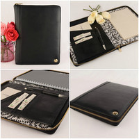 A5 Leather Compendium, Fabric Lined, Multiple Pockets, Personalized, Zip Closure & Cocoa Paper Note Pad.