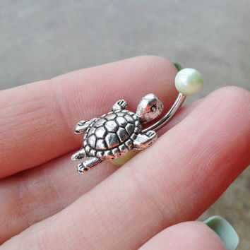 Silver Turtle Belly Button Ring Light Green Pearl by MidnightsMojo