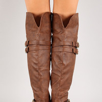 Buckled Strap Over-The-Knee Riding Boot