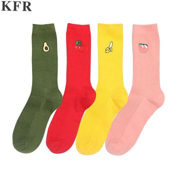 Pink Cute Sock Christmas Winter Avocado Kawaii Women Cotton Long Socks Warm Happy Funny Art  Harajuku Cool Korean Sock Japan