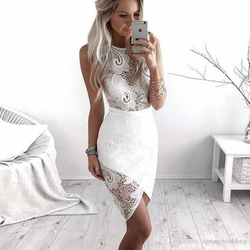 Sheer Lace Mini Short Party Dress Cocktail Dress 2019 New Arrival Irregular Designed White Club Party Gowns 2345