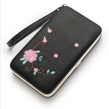 Fashion Floral Women purse women's wallet long clasp female money bag brand lady wallets clutch PU leater Three fold 168
