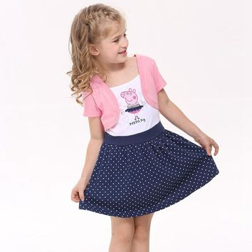 dress for girls children clothing summer style princess dress appliques pig o-neck short sleeve dots girls clothes H4371