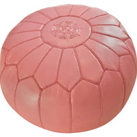 Moroccan Leather Pouf, Bubble Gum Pink, Poufs