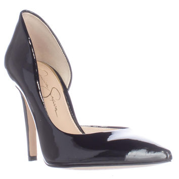 Jessica Simpson Claudette D'Orsay Pointed Toe Pump Heels - Black Patent