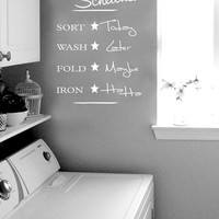 Laundry Schedule sort wash fold iron Wall Decal Vinyl sticker home decor shower door toilet bath towel soap quote lettering bathroom