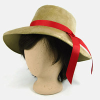 Vintage Torino Tan Faux Fur Wide Brim Hat Brown Floppy Hat with Red Ribbon Made in Italy Hippie Hat