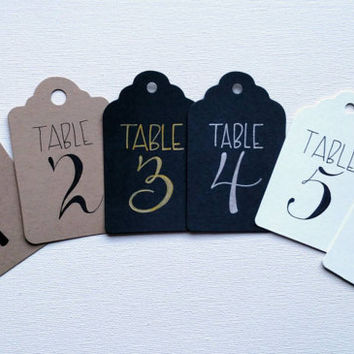 Hand lettered wedding table number tags, bridal shower, baby shower, fundraiser table number tags, rustic table numbers.
