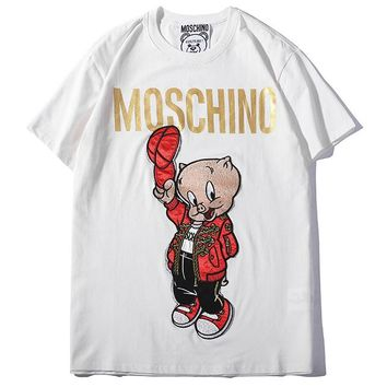 Moschino 2019 early spring new women's pig brother embroidered letters loose tops white