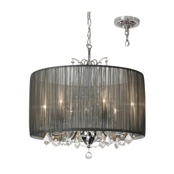 Dainolite 5 Light Crystal Chandelier with Tiara Silver Organza Shade and Polished Chrome Finish