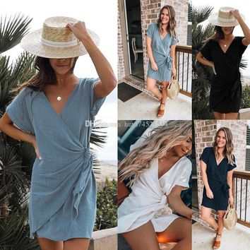 Wrap Deep V Neck Sexy Short Sleeve Casual Loose Women Dress Mini Irregular Summer Beach Dresses 2019