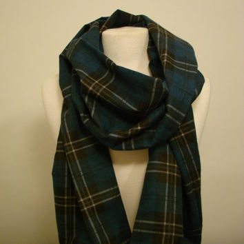 Chunky Flannel Scarf - Blue/Beige/Black Plaid - Choose your own style: Circle/Eternity/Infinity/Loop OR Straight - Women Men Unisex Teen
