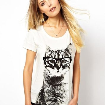 White Cat With Glass Print T Shirt