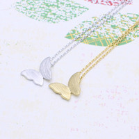 butterfly  necklace in  silver or gold tone
