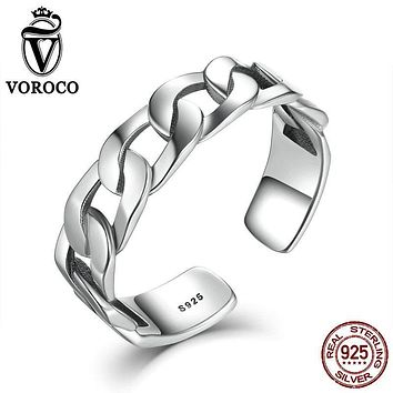 Simple Style Wide Band Chain Cuff Ring Adjustable 925 Sterling Silver Hollow WoMen Rings Casual Fine Jewelry VOROCO