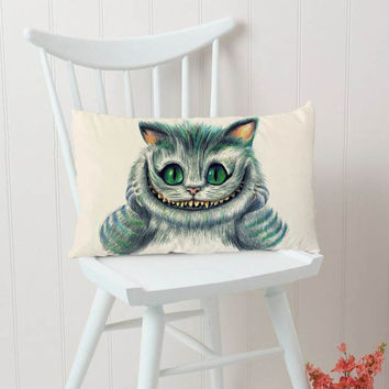 Cat Cheshire Alice In Wonderland Pillow Cases Rectangular Pillow Cover, Pillow Case, Cushions Pillow Cover, Home Decor Pillow, Bed Pillow