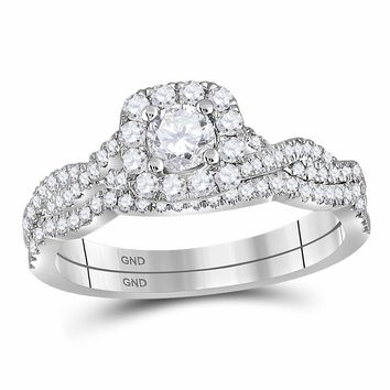 14kt White Gold Womens Round Diamond Twist Bridal Wedding Engagement Ring Band Set 5/8 Cttw