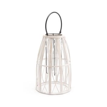 Bamboo And Steel And MDF Web Lantern Small, In White
