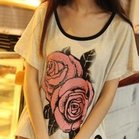 Vintage Big Rose Print Cropped T-shirt