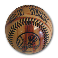 Glossy Wood Grain Baseball - New York Yankees
