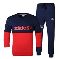 Boys & Men Adidas Top Sweater Pullover Pants Trousers Set Two-Piece Sportswear