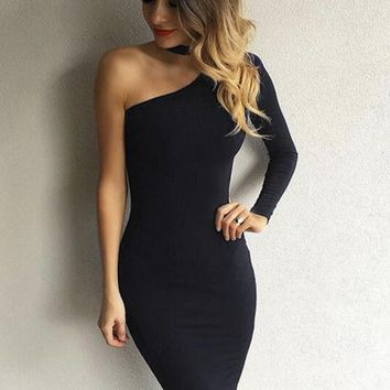 Black Asymmetric Shoulder Irregular Zipper Band Collar Long Sleeve Homecoming Party little black dress