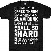 Basketball Typographic (Dark)-Unisex Athletic Black T-Shirt