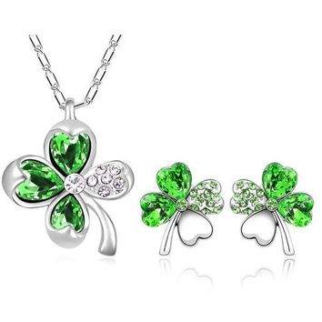 Mental Health Awareness Clover Leaf Crystal Necklace and Earrings Set