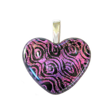 Pink Dichroic Glass Heart Pendant Real Love tt by mysassyglass