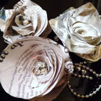 Set of silver and Newsprint beaded paper flowers roses wedding table scatter feminine simple decor