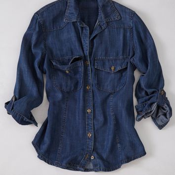 Fitted Western Chambray