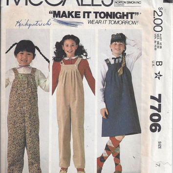 McCall's 7706 Pattern for Girls' Jumper and Jumpsuit, Size 7, From 1981, Make It Tonight, Wear It Tomorrow Pattern